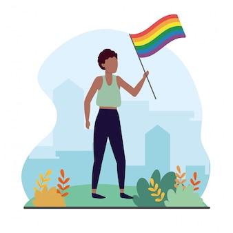 Lgbtのお祝いに虹色の旗を持つ女性