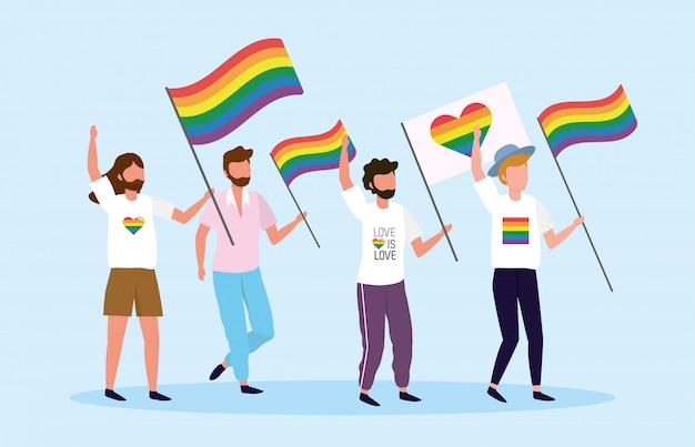 Lgbtの自由に虹と心の旗を持つ男性