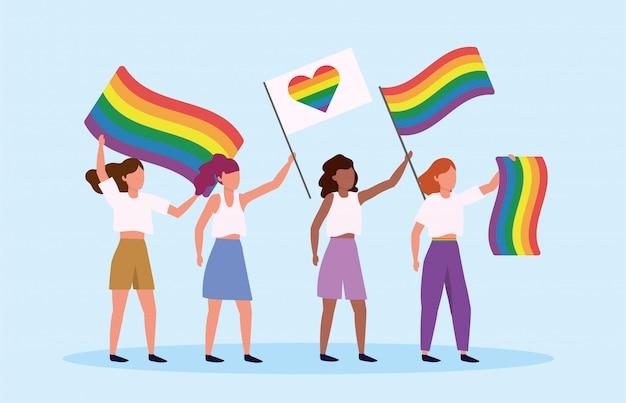 Lgbtパレードに虹と心の旗を持つ男性