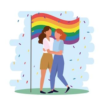 Lgbtパレードに虹色の旗を持つ女性カップル