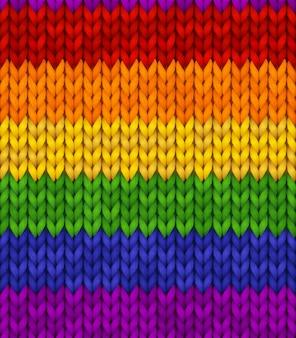 虹のリアルなニットの質感。 lgbtのカラフルなシームレスパターン。バナー、サイト、カード、壁紙の編集可能な背景。プライドのイラスト。