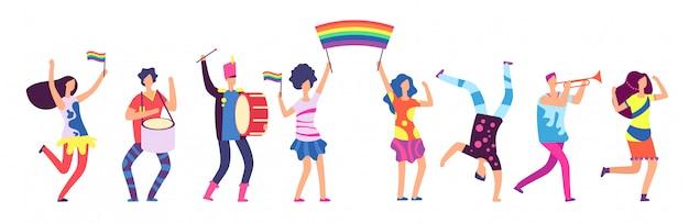 Lgbtパレード。虹色の旗を持っている人。ゲイ愛の誇り、性差別の抗議の概念