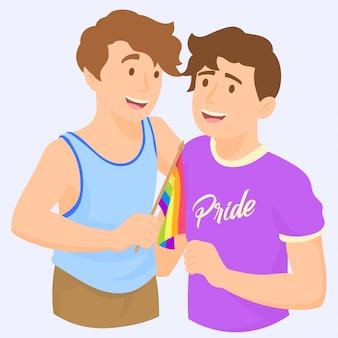 ゲイプライドを祝うカップル手を振っている虹lgbtフラグ