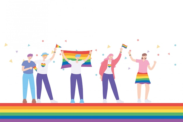 Lgbtq community, celebrating group young people with heart flag clothes with rainbow, gay parade sexual discrimination protest illustration
