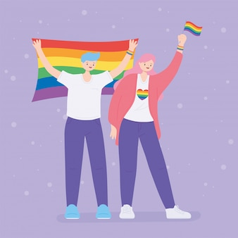 Lgbtq community, happy girl and boy with rainbow flags, gay parade sexual discrimination protest