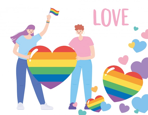 Lgbtq community, young people with rainbow flag hearts love, gay parade sexual discrimination protest illustration
