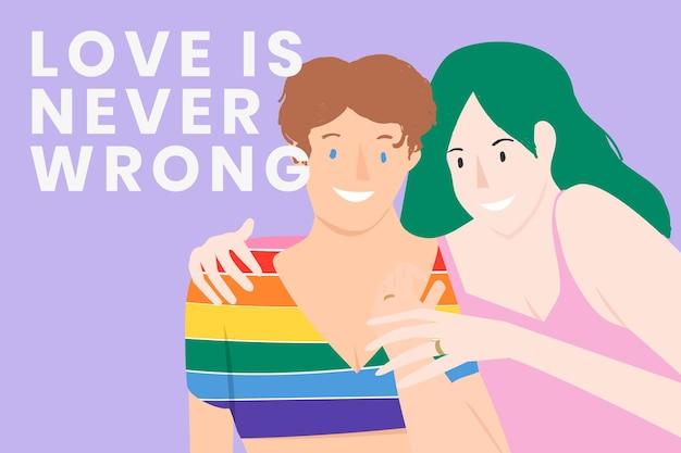 Modello di banner di coppia gay lgbtq per il mese dell'orgoglio