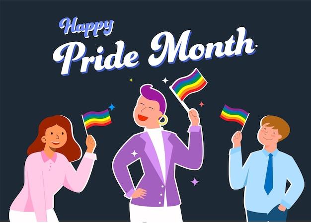 Persone lgbtq che tengono in mano bandiere arcobaleno per il mese dell'orgoglio