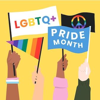 Le bandiere del mese dell'orgoglio lgbtq vector post sui social media