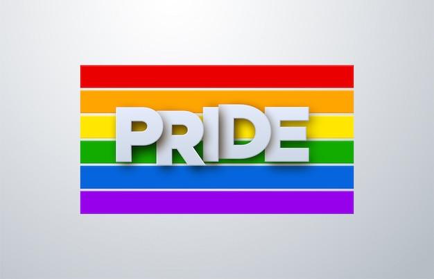 Lgbtqプライド月間。図。虹色の旗の背景に関するホワイトペーパーラベル。人権や多様性の概念。 lgbtイベントのバナーデザイン。