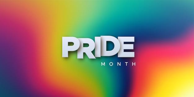 Lgbtq pride month paper sign on rainbow liquid leak background