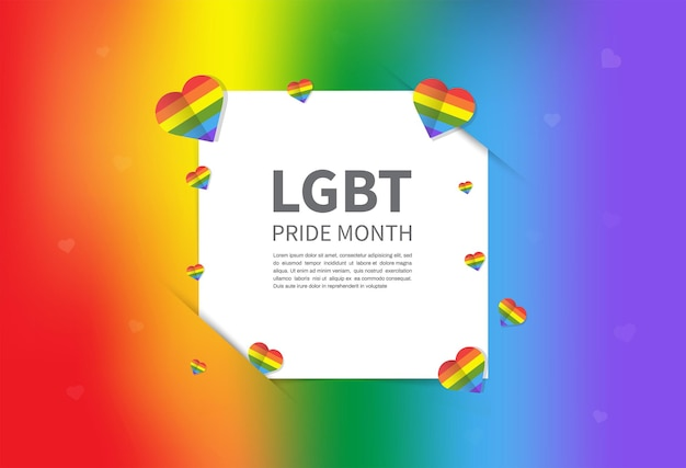 Lgbtq pride month rainbow color background with copy space template lgbt event banner design