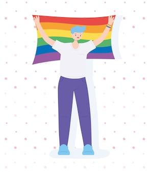 Lgbtqコミュニティ、青い髪の男が旗の虹を保持、ゲイパレードの性差別抗議