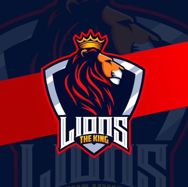 Король лев талисман киберспортивный дизайн lgoo