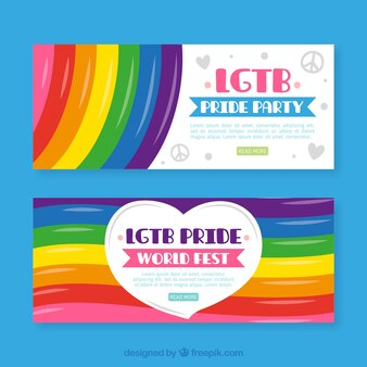 Lgtb banners with rainbow colors
