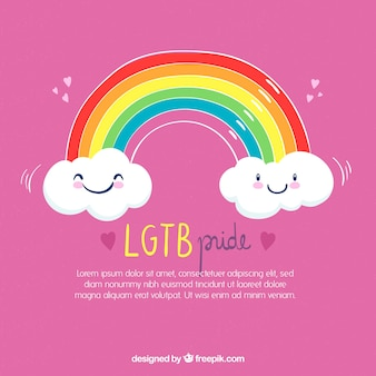 Lgtb pride background with happy clouds and rainbow