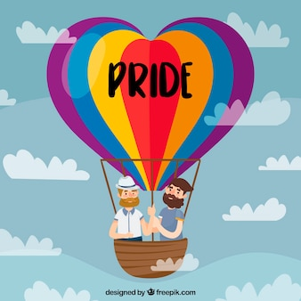 Lgtb pride background with hot air balloon