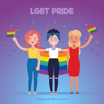 Lgtb pride background with three girls