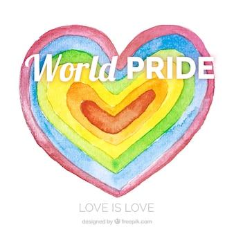 Lgtb гордость фон с акварель сердце