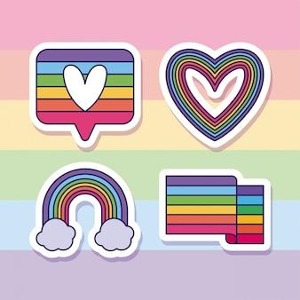 Lgtbi heart bubble rainbow and flag