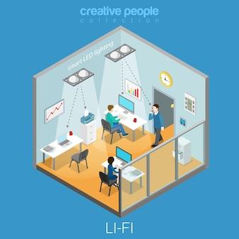 Li-fi technology optical wireless communication interior visualization flat isometric