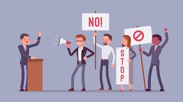 嘘つきと抗議する人々。男は誤解を招き、聴衆をだまし、公のスピーチに嘘をついていると言い、鼻が長くなり、群衆が看板を掲げ、不正を止めるためのバナーを表示します。スタイル漫画イラスト