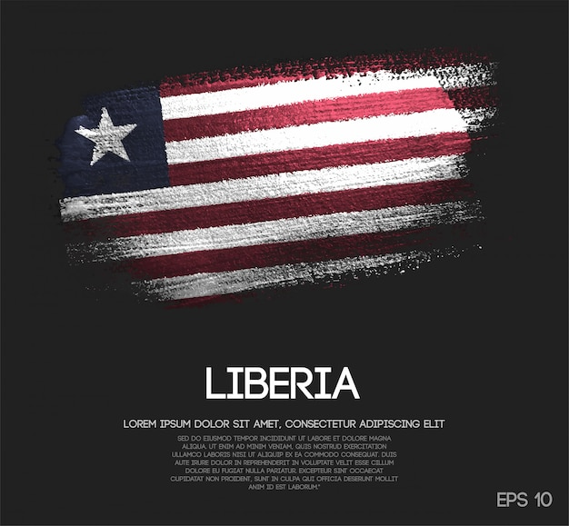 Liberia flag made of glitter sparkle brush paint