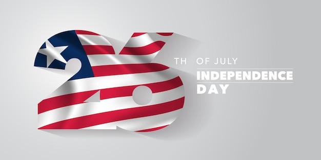 Либерия с днем независимости. либерийский национальный день 26 июля фон с элементами флага