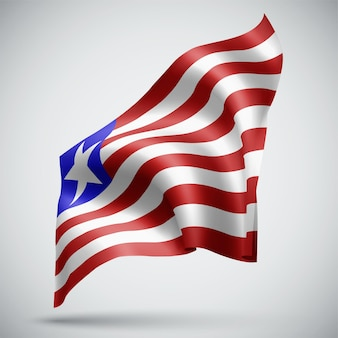 Liberia, vector 3d flag isolated on white background