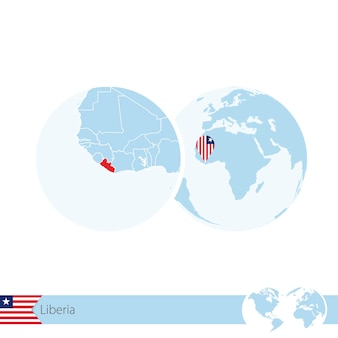 Liberia on world globe with flag and regional map of liberia. vector illustration.