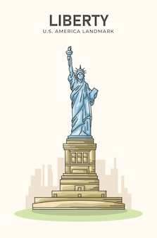 Статуя свободы американская достопримечательность минималистская иллюстрация