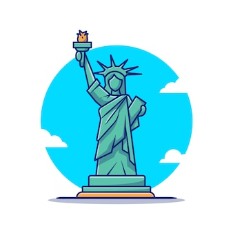 Liberty statue cartoon   icon illustration. famous building traveling icon concept isolated  . flat cartoon style