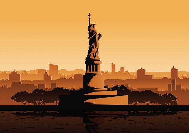 자유의 여신상 미국의 유명한 랜드 마크