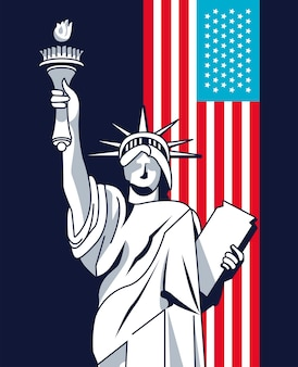 Liberty statue and flag