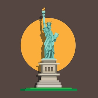 Liberty statue monument, american famous landmark in front view. cartoon