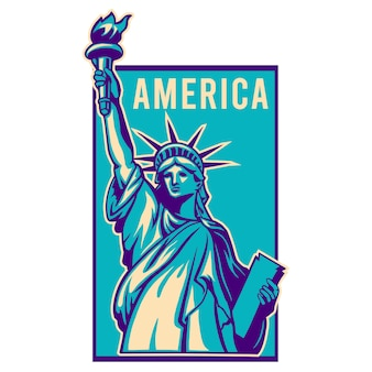 Liberty vector illustration with frame