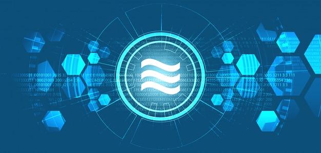 Символ криптовалюты libra на предпосылке цифровой технологии, дизайне blockchain и концепции бумажника, иллюстрации ,.