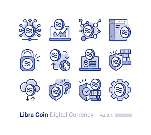 Libra coin vector icon collection