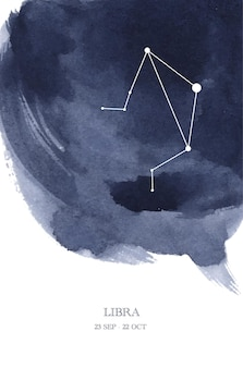Libra constellation astrology watercolor illustration. libra horoscope symbol made of star sparkles and lines.