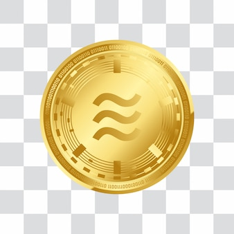 Libra digital crypto currency 3d golden coin