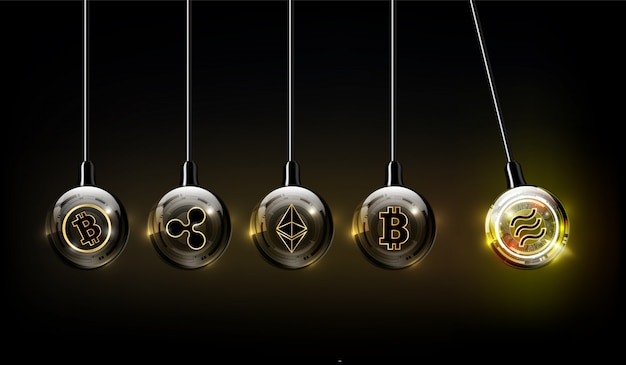 Libra digital currency, bitcoin, ethereum, ripple , bitcoin cash logo in form of newton cradle, fintech world finance concept,  illustration