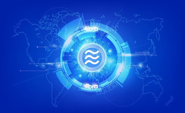 Libra digital currency, futuristic digital money on blue background, technology worldwide network concept,  illustration