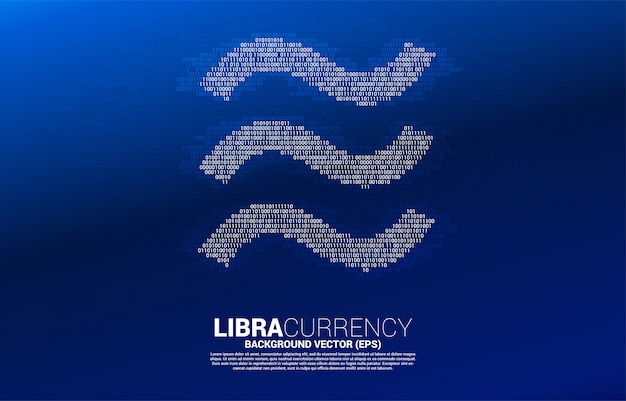 Libra digital currency icon from one and zero binary code digit matrix style.