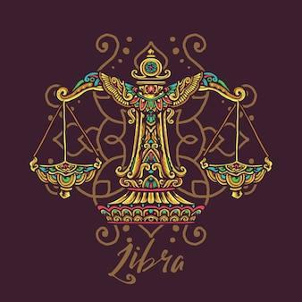 Libra zodiac hand drawn mandala illustration