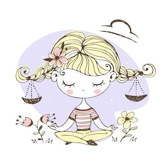 Весы знак зодиака. милая девушка с косичками в позе лотоса.