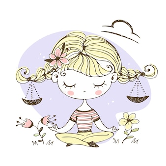 Libra zodiac sign. cute girl with pigtails in the lotus position.