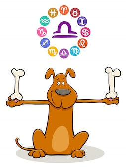 Libra zodiac sign with cartoon dog