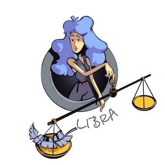 천칭 자리 조디악 로그인 여자 플랫 만화. 공기 점성술 기호 특성, 비늘이있는 아가씨. 상업용 인쇄 디자인에 2d 캐릭터를 사용할 준비가되었습니다. 격리 된 개념 아이콘