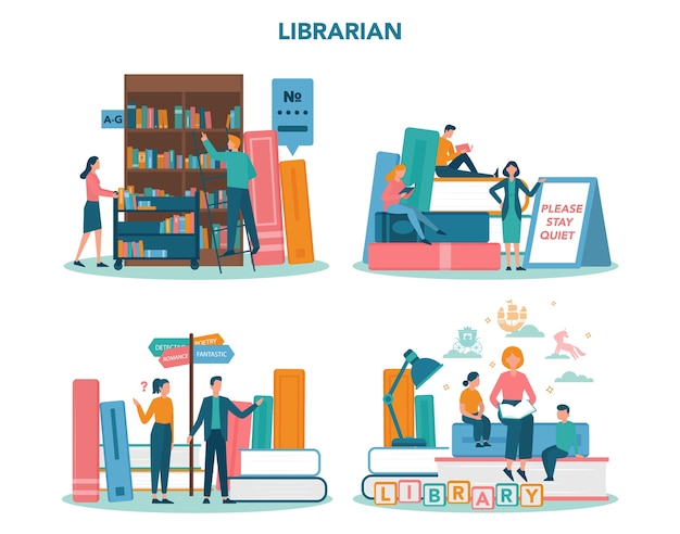 Librarian concept set. library staff holding and sorting book. knowledge and education idea. llibrary bookshelves guid. isolated vector illustration