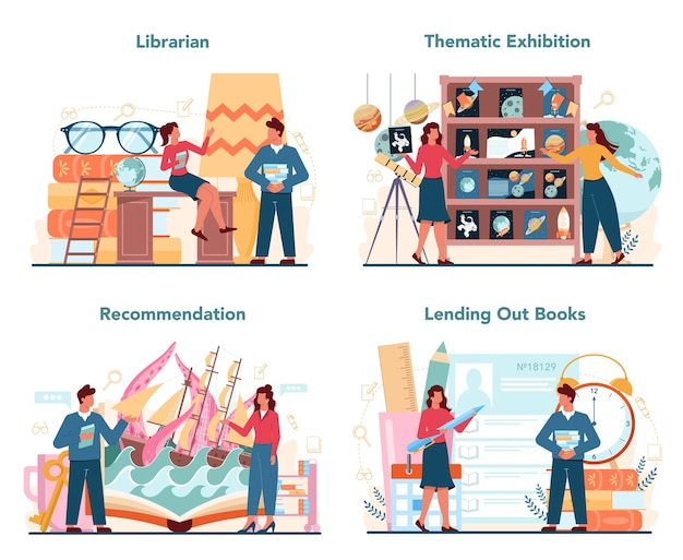 Librarian concept set.